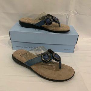 Lifestride blue estella comfort flat sandals Sz 7